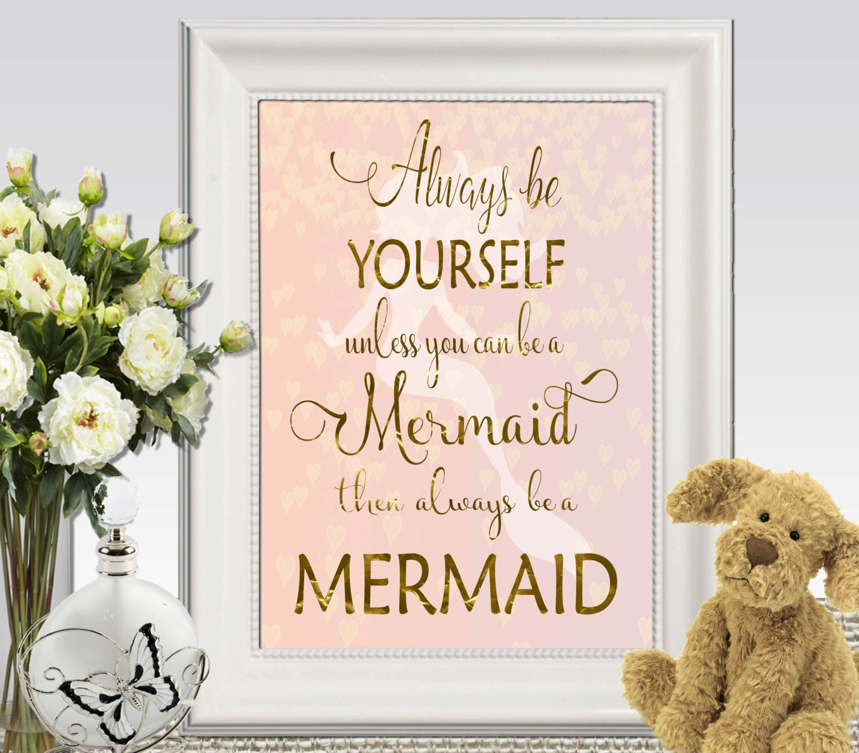 mermaid decor print pink gold mermaid wall art pink mermaid