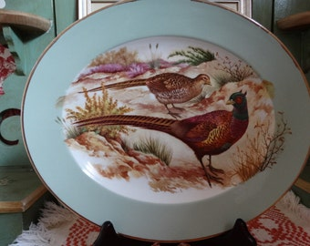 CODE: MOVINGSALE 35% OFF W H Grindley  Polychrome Wild Pheasant Platter in shades of Brown, Raspberry, Yellow and Green.