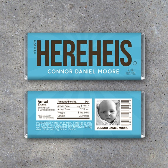 personalized chocolate bar wrappers template - personalized birth announcement candy bar wrappers in blue