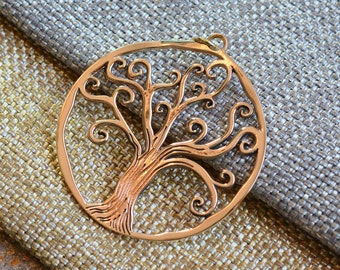 Large Round Tree of Life Pendant Charm, Bronze, 40mm, 5mm Jump Ring Bail, Tree Pendants, Tree Charms, Big Tree, Round, One Pendant
