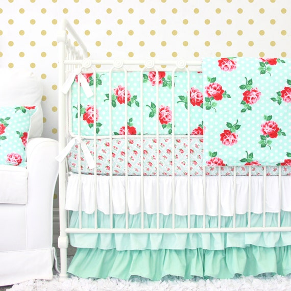 Lucy s Mint Rose Vintage Ruffle Baby Bedding Girl Crib