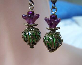 Vintage Style Thistle Earrings Scotland Steampunk