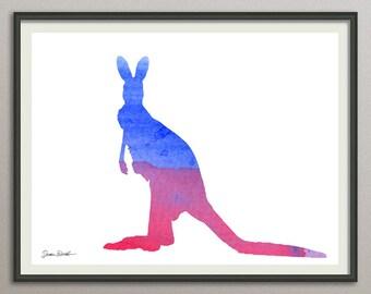 kangaroo wall art print wall decor poster watercolor painting, animals wall art print poster, nursery wall art art print poster
