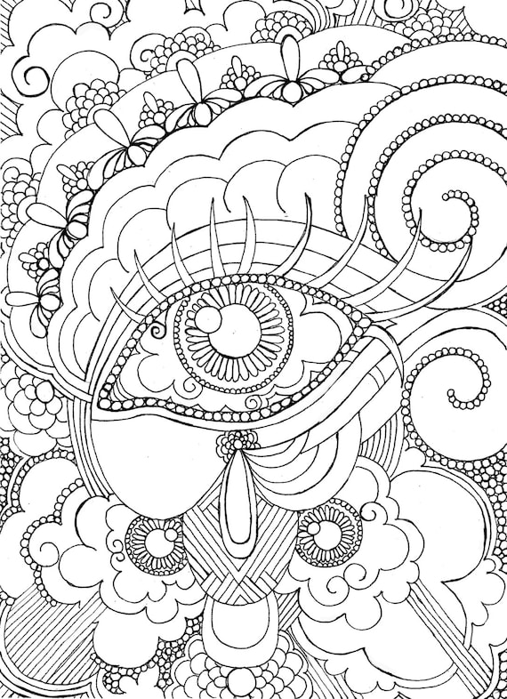 Eye Want To Be Colored Adult Coloring Page Steampunk Detailed Hand Drawn