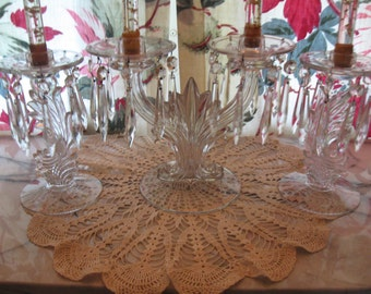 Fabulous,Forties Art Deco three piece Crystal Candelabra Centerpiece w/Matching Candlestick holders...