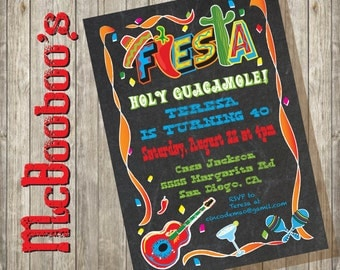 Mexican Fiesta Party Invitation on a chalkboard background with fun graphics