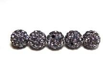 5 Black Pave Beads, 10mm Black Diamond Pave, Shamballa Bead, Disco Ball Bead, Polymer Clay Pave Bead, Beads CC0020BK