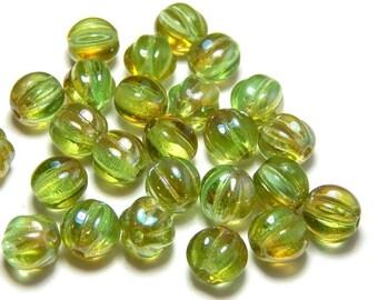 8mm Chrysolite Celsian Round Czech Beads, Melon Beads, Yellow Green Beads, Lime Beads, Chrysolite Glass Beads, 8mm Melon Round Beads D-D19