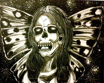 ON SALE Painting 16x20 Skeleton Butterfly Acrylic/Oil on Stretched Canvas!