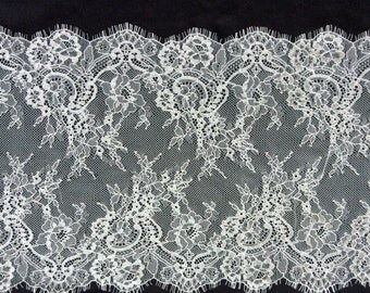 3 Yards off white French Chantilly Lace ,Exquisite Black Eyelash Lace Trim,Wedding lace fabric -T3138