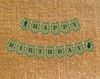 Army Camo Happy Birthday Banner - Digital File - INSTANT DOWNLOAD