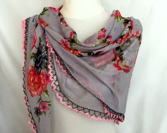 Crochet Lace Scarf, Original Traditional Turkish Floral Oya Scarf, Grey Pink Soft Bridal Accessory, Christmas Gift Idea For Woman