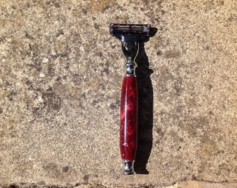 Luxury acrylic mach 3 razor hand crafted in the UK