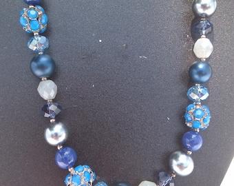 Clearance necklace, Beaded necklace,Blue necklace,Purple necklace