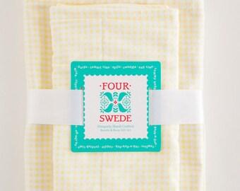 Yellow Gingham Baby Blanket and Burp Cloth | Bundle & Burp Set