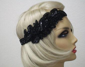 1920s Headband, Gatsby Headband, 1920s  Headpiece, Flapper Headpiece, Great Gatsby, Sequin Headband, Beaded Art Deco, 1920s Hair Accessory