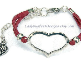 HEART Bracelet,Faux Suede Bracelet, Pick Your Size, Lobster claw clasp with extention chain and heart charm, Valentine's Day Gift