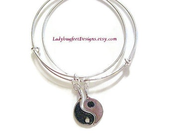 Yin and Yang ADJUSTABLE BANGLE Set! Friendship bracelets, Stackable Bangles, Yin & Yang, One Size Fits Most