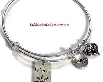 FRIENDS Adjustable Wire charm bangle,Tibetan Silver charm Bracelet,One Size Fits Most