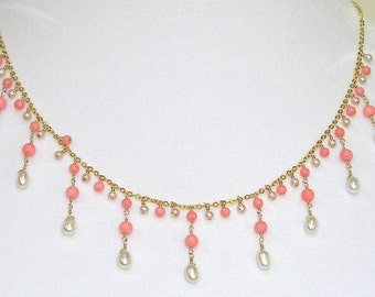Coral & Pearl Gold Necklace - item #1490