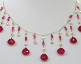 Pink Calcedony & Pearl Necklace - item #1190