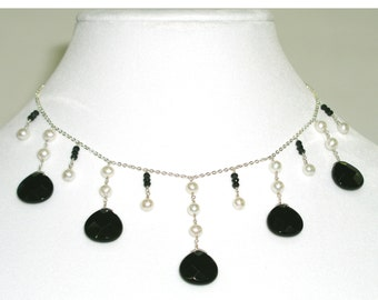 Black Onyx & Pearl Necklace - item #4760