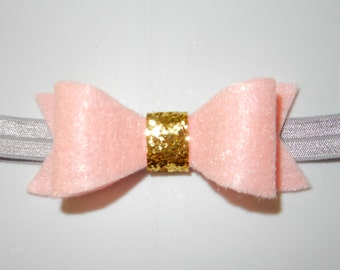 Pink and Gold Bow on Gray Elastic- Pink Baby Bow- Baby Girl Headband