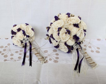 Bridal Bouquet and Bridesmaid bouquet , Wedding Cream/Purple, Sola flowers