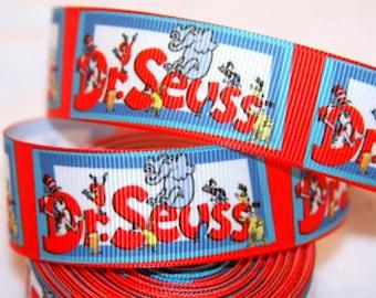 3 yards grosgrain ribbon 1 inch wide - Dr. Seuss