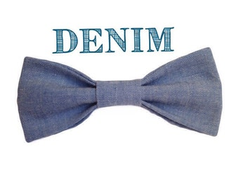 Denim bow tie, denim neck tie, denim baby outfit, denim outfit, denim bow, denim accessory, light blue bow tie, blue bow tie,  [DENIM]