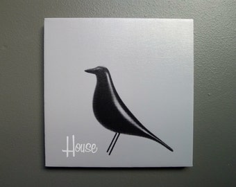 Eames House Bird Hand Stretched Canvas Print in Medium Gray