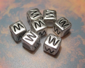 "20pcs Antique Silver Alphabet Letter ""W"" Acrylic Cube Spacer Beads 6x6mm"