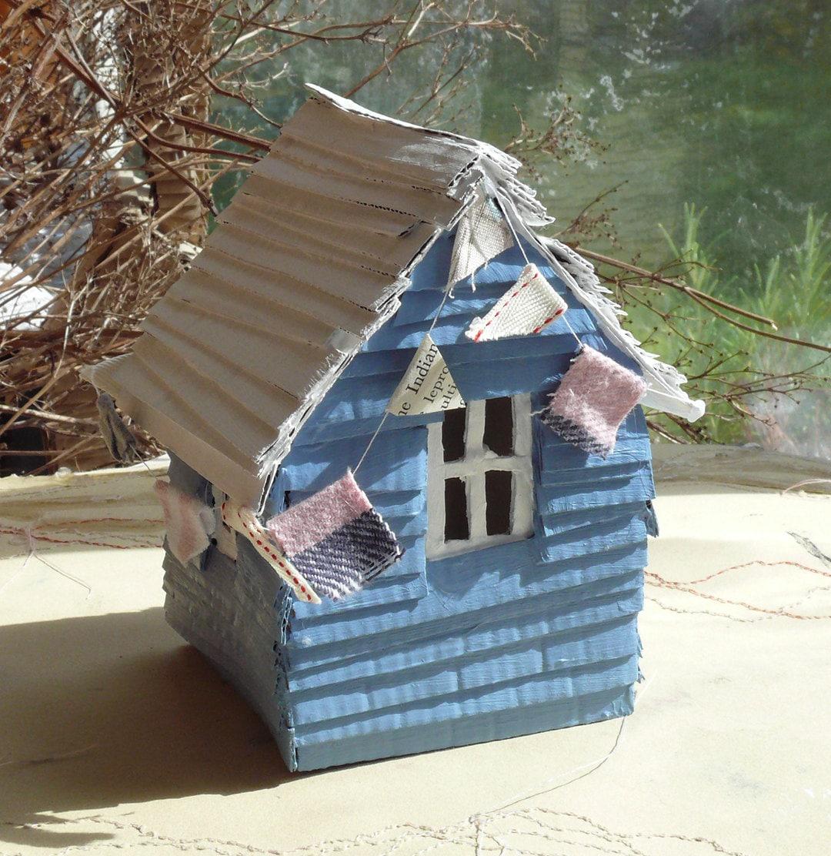 Small handmade recycled cardboard beach hut model sculpture for Model beach huts