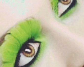 Huge neon green feather eyelashes