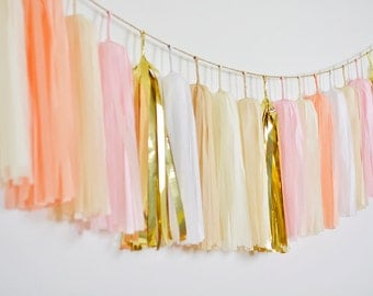Gold Blush Tassel Garland, Blush Wedding, Girl First Birthday, Blush Girl Nursery, Girl Cake Smash, Blush Birthday, Blush Bridal Shower