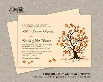 Fall Wedding Invitation, Printable Fall Leaves Wedding Invitations, Falling Leaves Autumn Wedding Invitation Template