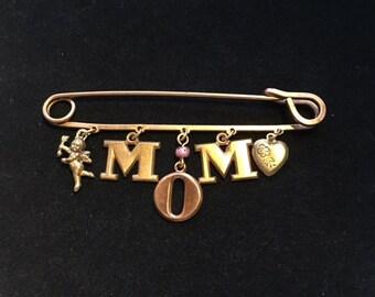 "Vintage Copper ""MOM"" Safety Pin Brooch"
