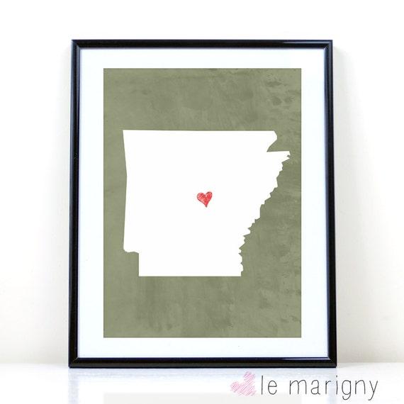 Items similar to Arkansas Art Print, Arkansas State Print ...