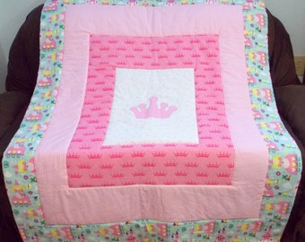 Princess Quilt, Princess Blanket, Baby Blanket, Baby Quilt