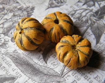 NEW! Rustic Golden Yellow Pumpkin, ONE Rustic Pumpkin, Polymer Clay, Rustic Pumpkin Beads, Pumpkin Beads