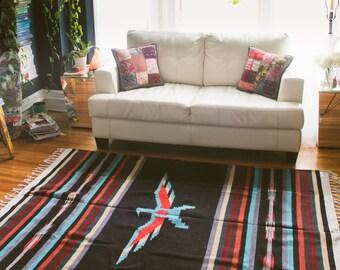 Southwestern Rug Blanket Thunderbird Black