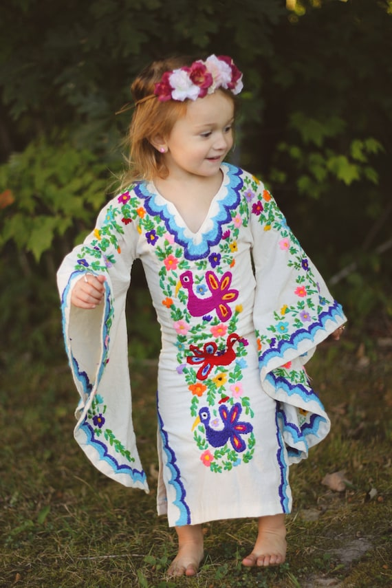 Bohemian Flower Girl Dress Mexican Embroidered By Newcropshop