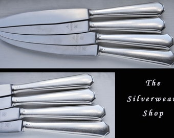 4 Vintage Silver Plated Dinner Knives, Hollow Handle Dinner Knife, Traditional WMF German Silver Plate, Nirosta