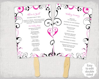 "DIY Wedding program fan template ""Scroll"" Hot pink and Black order of ceremony printable wedding programs Fuchsia YOU edit Word download"