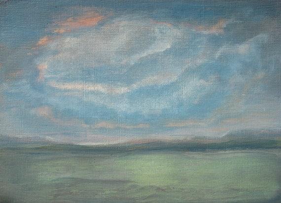 low cloud painting blue cloud landscape blue green light water, Reel Combo