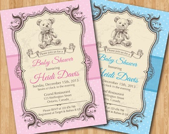 Bear Baby Shower Invitation. Vintage Retro Bear Baby Girl or Boy Shower Invite. Digital printable DIY.