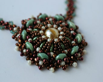 Beadwoven Necklace , Beadwork Round Pendant , Statement Jewelry ,