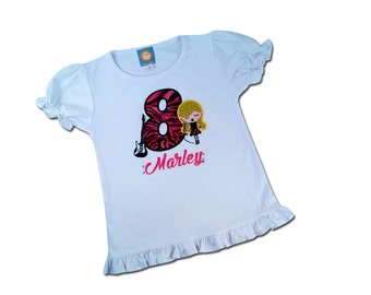 Girl's Birthday Shirt with Rocker Girl and Sparkly PInk Zebra Number