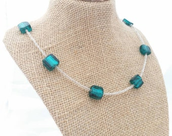 TrEnDy TEAL SQUARES glass NECKLACE