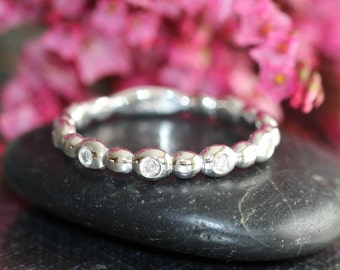 Pebble Diamond Wedding Band Women in 14k White Gold Half Eternity Diamond Ring, Anniversary Ring, Stacking Ring (Bridal Ring Set Available)
